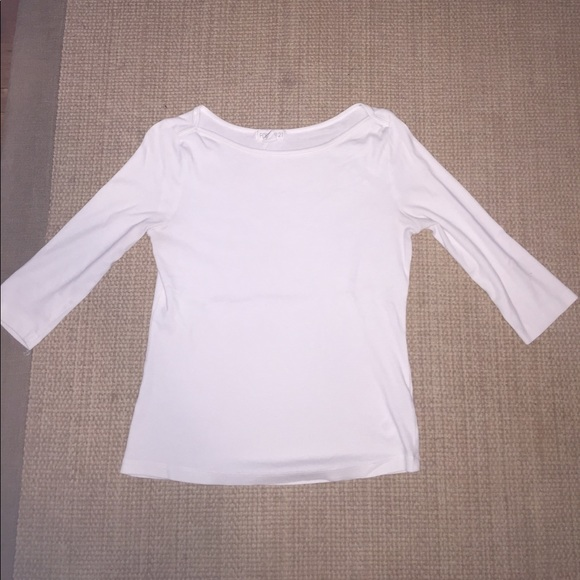 25 off forever 21 tops white crew neck 3 4 inch sleeve