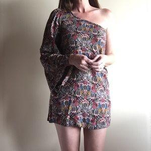 Zara one sleeve printed mini dress