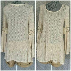 Crochet Bell Sleeve Sweater L