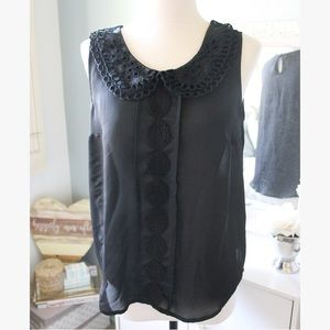 LC Lauren Conrad   Embroidered Sleeveless Blouse