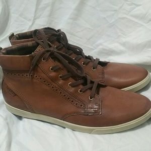 Ecco Other - ECCO Men's Brown Leather High Top Sneakers / Boots