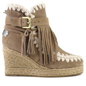 Mou Shoes - MOU eskimo jute wedge belts and buckles suede 38
