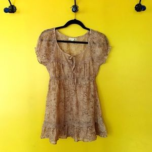 mine Tops - mine sheer champagne colored peasant style blouse
