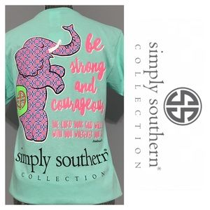 """Simply Southern Tops - Simply Southern Elephant """"Be Strong/Courageous""""Tee"""