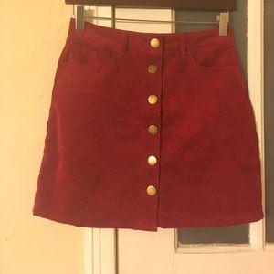 Red Button through Mini Skirt