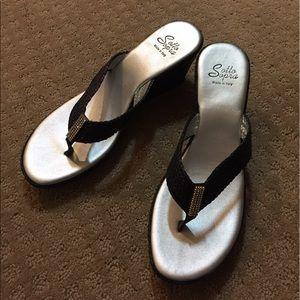 Sotto Sopra Shoes - Sotto Sopra Black Wedge Sandals
