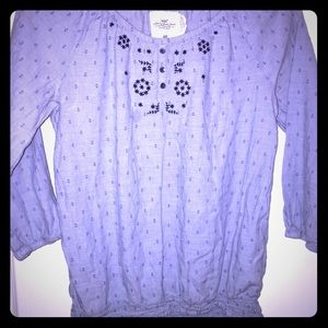 H&M LOGG blue embroidered boho peasant top