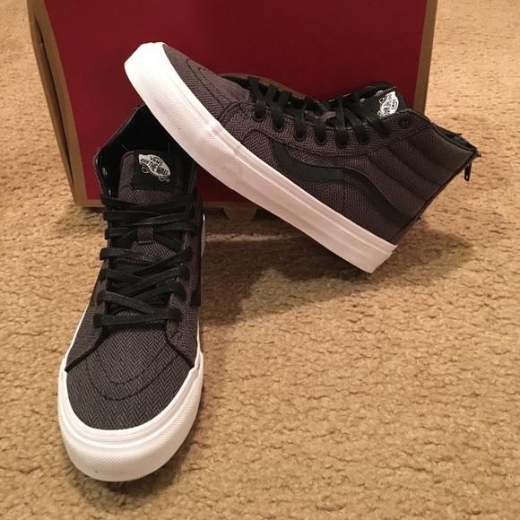 7b6c5712899 Vans Herringbone Tweed Sk8Hi Slim Zip Sneakers
