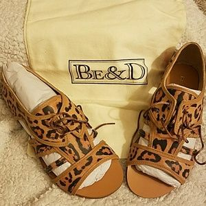 Be & D Shoes - Be & D leather Malin leopard print sandals
