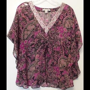 Silk Loose Airy Beaded Embroidered Batwing Top S