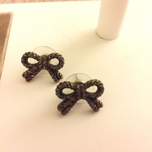 Betsey Johnson pink rhinestone bow earrings