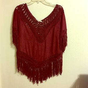 Cecico Tops - Suede and Fringe Crochet Maroon Top size large