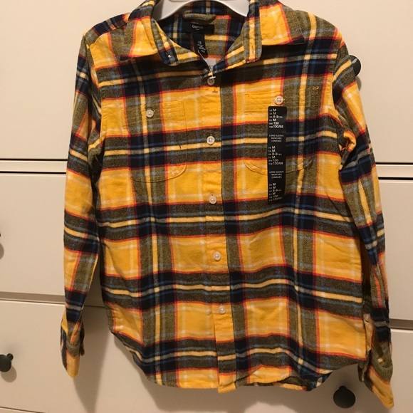 44 off gap other nwt gap factory flannel yellow white for Navy blue and red flannel shirt
