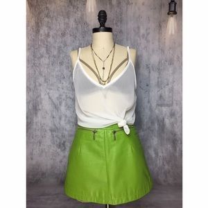 LIME GREEN 💯 LEATHER DOUBLE ZIPPER MINI SKIRT!!