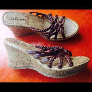 UNIONBAY Shoes - UNIONBAY Leather Wedge Heel Sandals Shoes 7 M