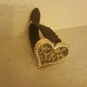 Cheetah print heart shaped watch with rhinestones
