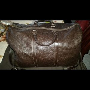 Gucci Other - Gucci brown leather travel duffle bag