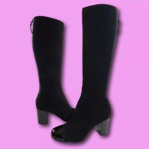 STEVEN by STEVE MADDEN Black Leather Knee Boots