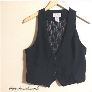 Star Style Jackets & Blazers - Black 3 Button Vest with Lace Back