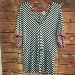Anthropologie Tops - Anthro Ella moss blue and red stripped top size M