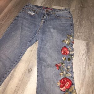 Vintage Denim - Floral Embroidered Boot Cut Jeans - Size 8