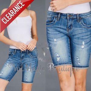 CLEARANCE Distressed Denim Bermuda Shorts