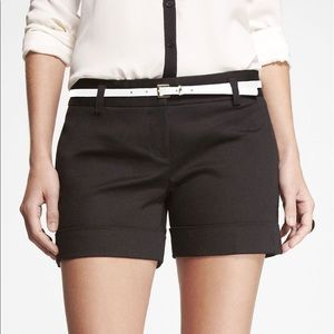 Express Black Cuffed Sateen Shorts