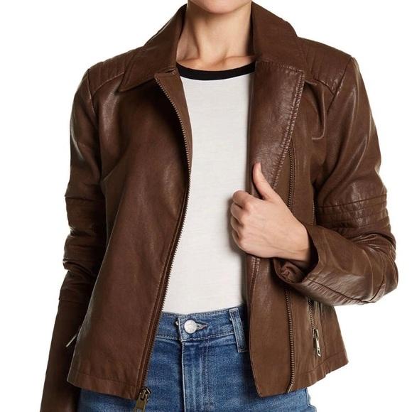 Levi's Moto Faux Leather Jacket Large Cognac $150