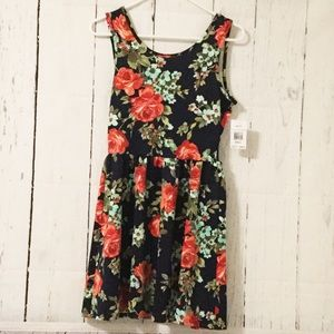 Crystal Doll Dresses & Skirts - Navy Floral Dress with Cutout/Bow Back