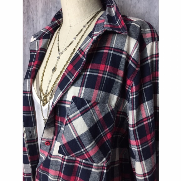 72 off lf tops lf stores oversized hi low super soft for Super soft flannel shirts