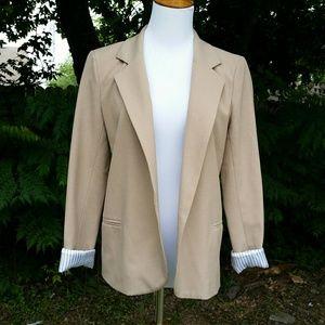 Necessary Objects Jackets & Blazers - Super cute tan blazer with fun striped interior
