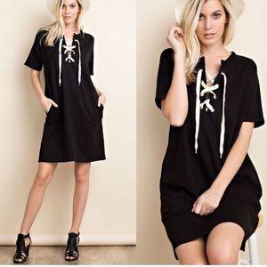 Pink Peplum Boutique Dresses & Skirts - 🆕 Black short sleeves lace up drawstring dress