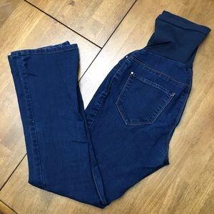 Indigo Blue Denim - Boot cut maternity jeans