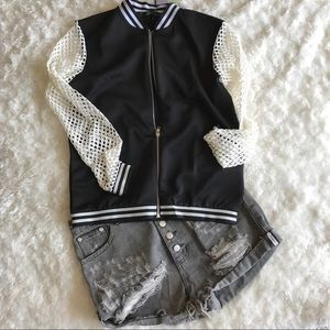Missguided Jackets & Blazers - Missguided Fishnet Bomber Jacket