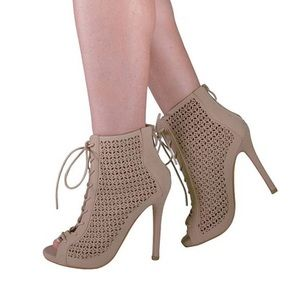 Brand New Lace Up Beige Nude Heels