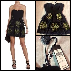 🔥 BCGB Black Strapless Tia Floral Cocktail Dress