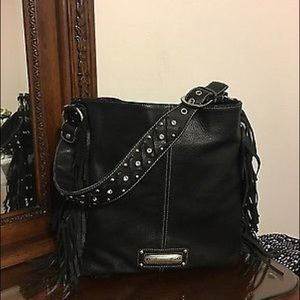 American West Handbags - AMERICAN WEST XL LEATHER FRINGE STUDDED TOTE BAG