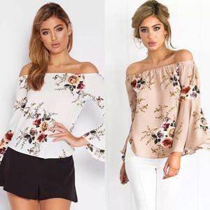 Tops - Off shoulder Bell Sleeves Floral Blouse