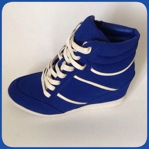Bamboo Shoes - Blue Wedge Sneakers