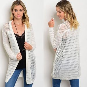 Boutique Sweaters - Ivory Lightweight Open Front Summer Cardigan