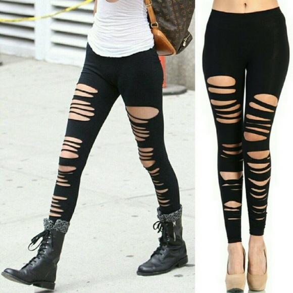 Image result for ripped leggings, women's trendy leggings