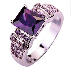 Jewelry - New Sterling Silver & Amethyst & CZ Ring Size 8