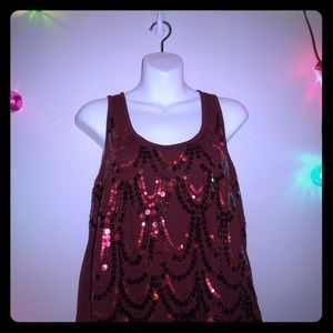 Burgundy racerback tank with sequins