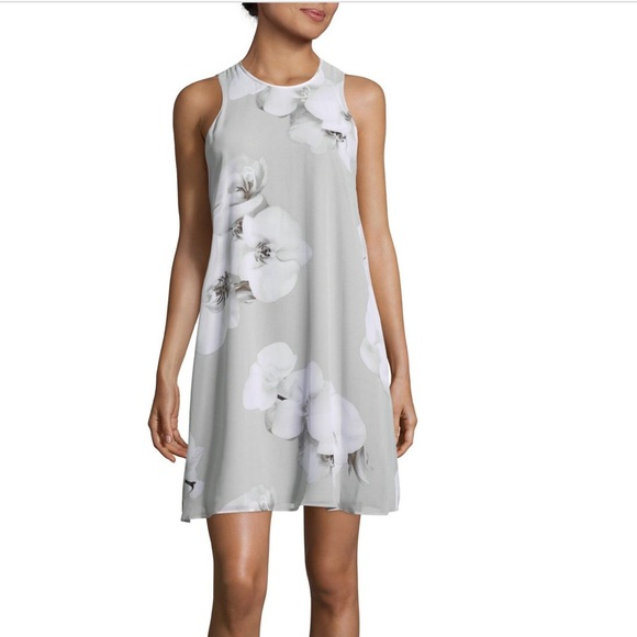 3372de77cc14 Calvin Klein Dresses   Gray Floral Trapeze Dress Chiffon 2p   Poshmark