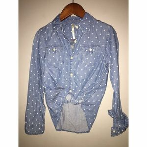 NEW without tags Girls Sz M 7/8 Denim Button Down