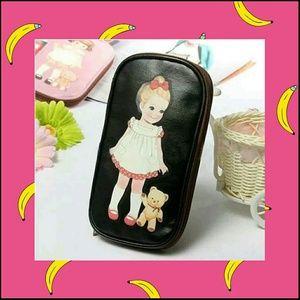 Makeup Case Clutch Purse Cute Baby Doll Black