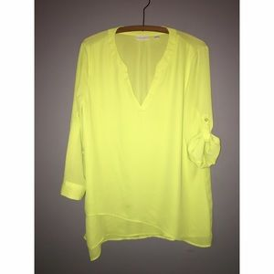 New York & Co Neon Yellow Tunic Sz Medium