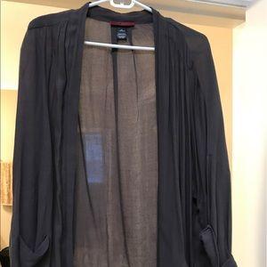 Grey cuffed sleeved kimono