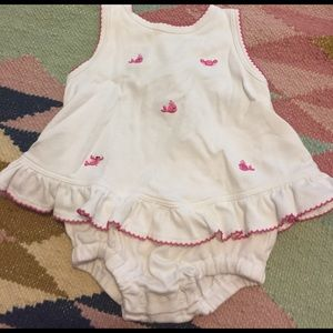 Kissy Kissy Other - Girl's kissy kissy romper with pink embroidery