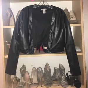 want my look Jackets & Blazers - Faux leather crop jacket